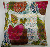 Indian Kantha Embroidered Cushion Cover From India