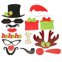 17 pcs/lot Christmas Gift Party DIY Photo Booth Props Mustache Glasses Snowflake Wood Stick Wedding Birthday Family