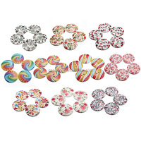 Top Quality Wholesale Price Graceful 5pcs 25/30mm 2 Hole Colorful Pattern Wood Wooden Button For Scrapbooking Sewing