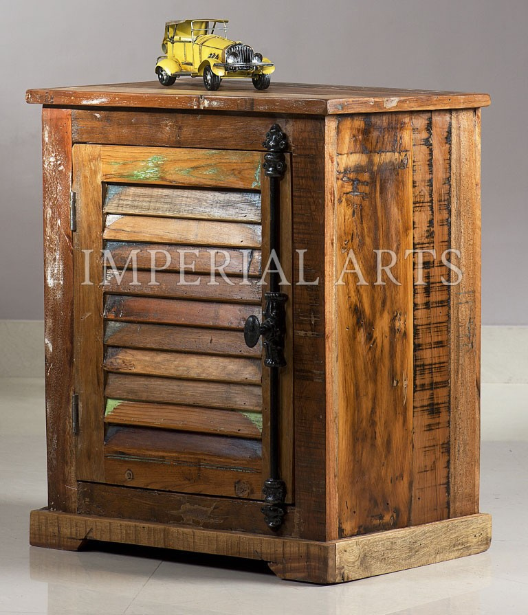Indian Recycle Wood Bedside Table For Bedroom Furniture