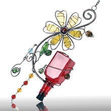 Metal Hummingbird Feeder With Flower Design And Hang Ring For Nectar Bottle (8units/case)