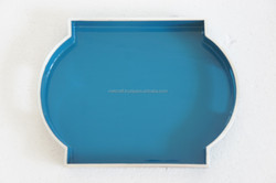lacquer tray high quality cheap price handmade in Vietnam blue color silver metallic liner multi design tray