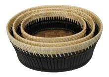 Hot sale set of 3 black bamboo basket, fruit and vegetable for serving