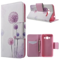 Stand PU Leather Cover Shell for Samsung Galaxy J3 - Purple Dandelion