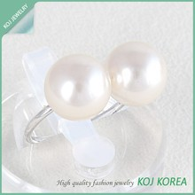 KR-634 two pearl tiny simple adjustable ring accessories two pearl