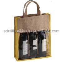 T058, LIVE GREEN, 3 bottles jute wine bags with window
