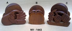 HAND CARVED WOODEN COASTER SET WITH VEGETABLE & FRUIT SHAPE STAND