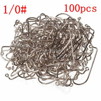 Lowest Price Fishing Tools Lot 100PCS Jig Hook Jig Big Stainless Steel Fishing Hooks White Color Fish Hook Size 1/0