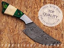 Hunting Knife, Custom Handmade Damascus Steel Fixed Blade Knife YV-526 Camel Bone + Pakka Wood + Stainless Steel Handle