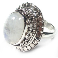 Rainbow Moonstone silver rings wholesale Antique handmade silver jewelry