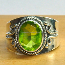 Peridot, Silver Ring, 925 Sterling Silver Ring New Oxidized,Style New Oxidized SER 4576