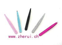 bling rhinestone stainless steel eyebrow tweezers