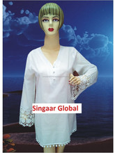 2015 New Style Beach Kaftan for Women / Super White / Full Sleeves with Lace /V neck / Size: S to 5XL
