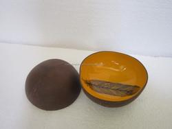 Leaf design inside coconut shell bowl, half coconut shell material, 100% eco-friendly
