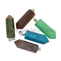 Gemstone Pendants Mix, Assorted Colors, about 8~9mm wide, 31~33mm long, hole: 2mm