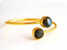 Labradorita piedras preciosas pulsera unque- vrmeil de oro