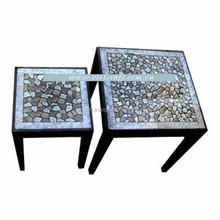 set of lacquer table and chair eggshell inlaid ecofriendly handmade in Vietnam table