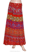 Red Base Multi Colour Elephant printed Skirts
