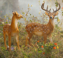Simulation Resin Sika Deer Family, Resin garden vivid animals, Decorative Sika Deer