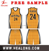 Healong All Over Sublimation latest custom basketball uniform sleeveless custom basketball uniform design