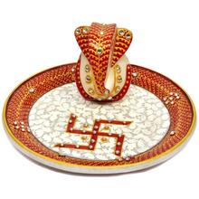 Marble Pooja Thali Plate Handicraft Religious Gift Decor Art And Craft Gallery Hindu God Puja Ganesha