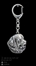 Newfoundland, Newf, Newfie, The Gentle Giant, silver covered keyring, Art-Dog