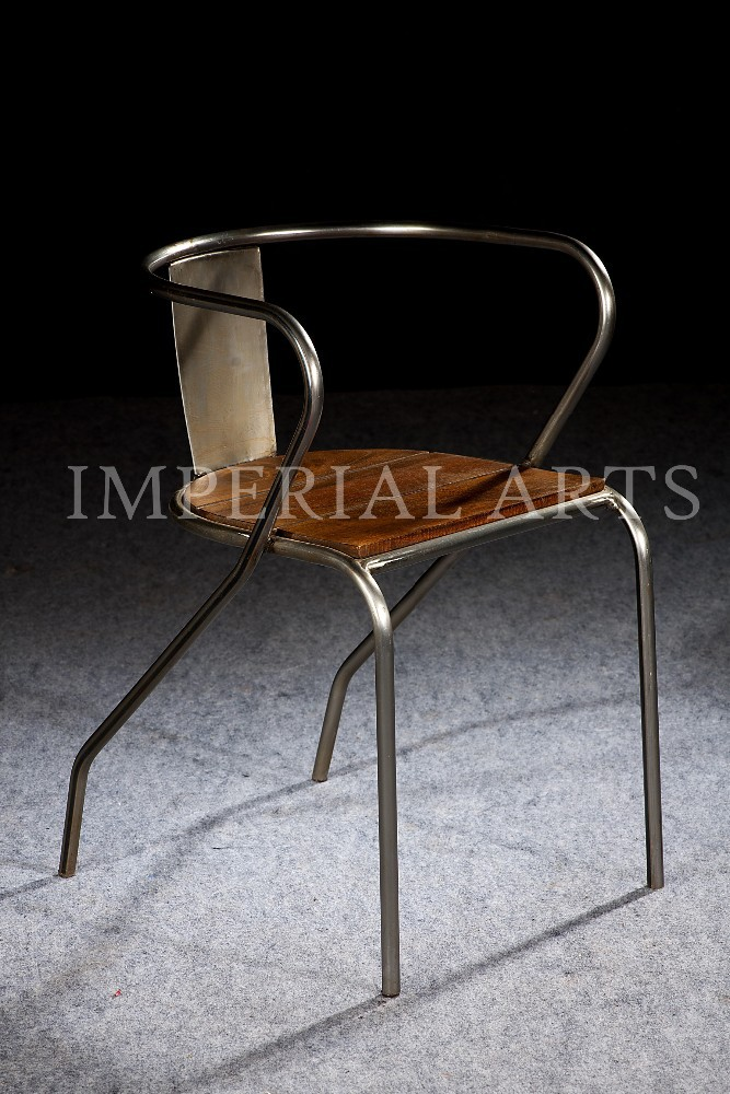 indian vintage industrial metal wood arm chair for living