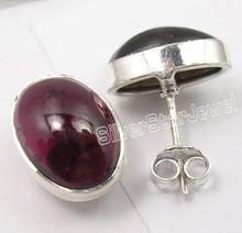 925 Sterling Silver CABOCHON GARNET BIG STUDS INDIA Earrings 1.5CM 4.5 Grams