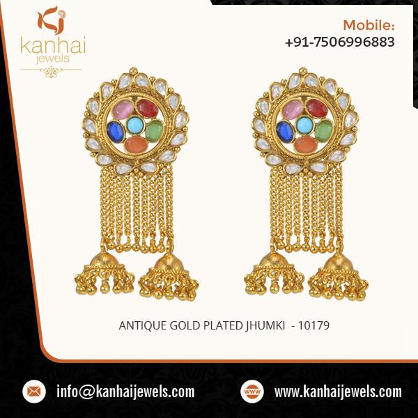 Antique Gold Plated Jhumki 1.jpg