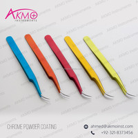 Original German Stainless Steel Curved Tweezers with Chrome Powder Coating/ Eyelash Tweezers with Exciting Colors Scheme