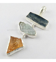 Fabuloso en bruto cianita aguamarina colgante, piedras preciosas joyas de plata, joyería de plata fina