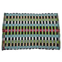 """Floor Rag Rug Multicolor Hand Woven Mat Door Mat Cotton Throw Indian Carpet 23"""" X 15"""""""