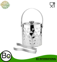 Stainless Steel Ice Bucket With Tong, 2000 ml, 18 Cms x 18 Cms x 19 Cms, Set of 2 pc