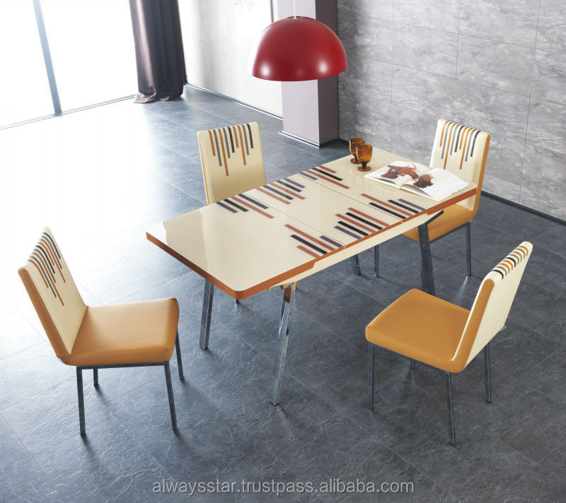 Line Cream Extendable Modern Glass Dining Table And Chairs  : Line Cream Extendable Modern Glass Dining Table from alibaba.com size 800 x 712 jpeg 96kB