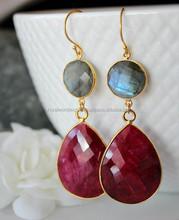 Dyed Ruby Sterling Silver Bezel Set Gemstone Earring/Color gemstone earrings/2015 New arrival designs earrings