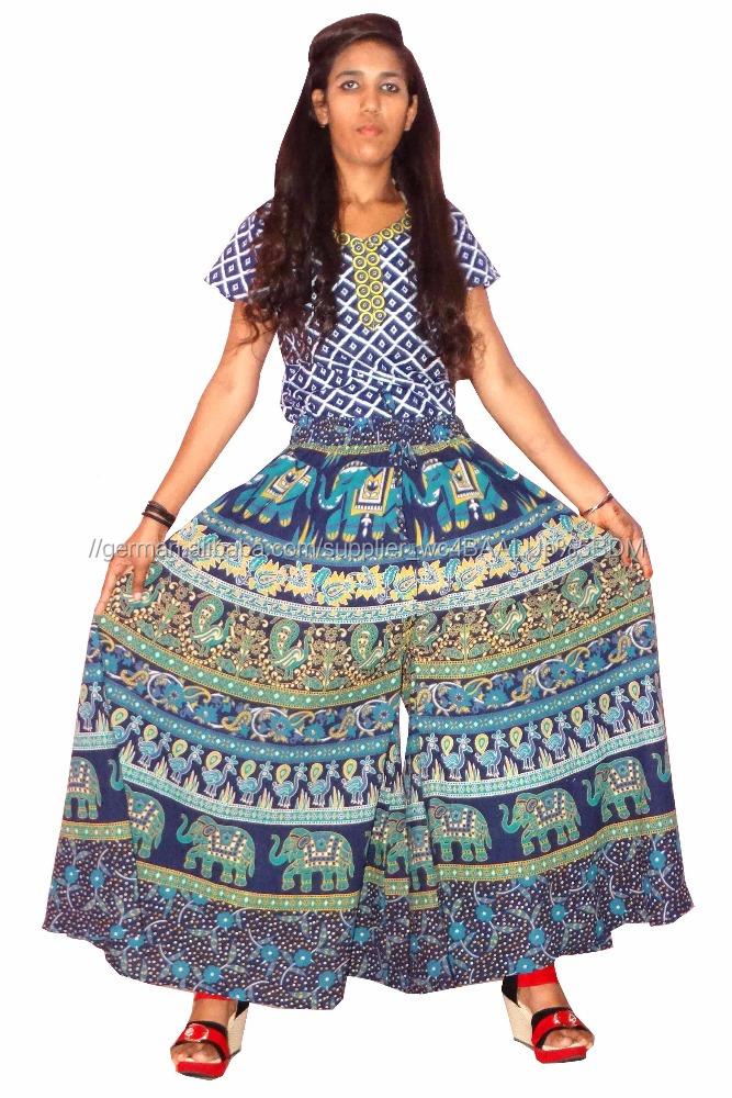 Heißer Sommer Jaipuri Baumwolle Druck Lange DividerSkirt