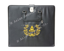 Masonic Past Master Apron Case with gold Embroidered Wreath