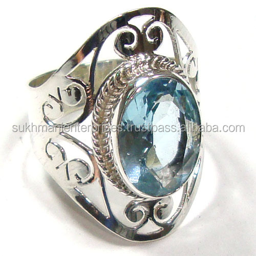 blue topaz rings wholesale silver jewelry