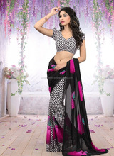 Black Hot Pink Apple Saree