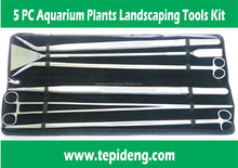 5-Pieces Aquarium Plant Tools- SCISSORS TWEEZERS LEVELER for water plants fish tank of long size