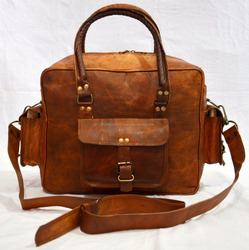 vintageleathercraft real leather messenger travel luggage weekend bag briefcase