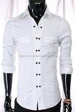 latest mens long sleeve blue business stripe shirt dress shirt made in Pakistan