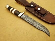 Hand Made By Falcon Knives CUSTOM DAMASCUS HUNTING KNIFE BUFFALO HORN HORN CAMEL BONE & BURL WOOD HANDLE | L-1009