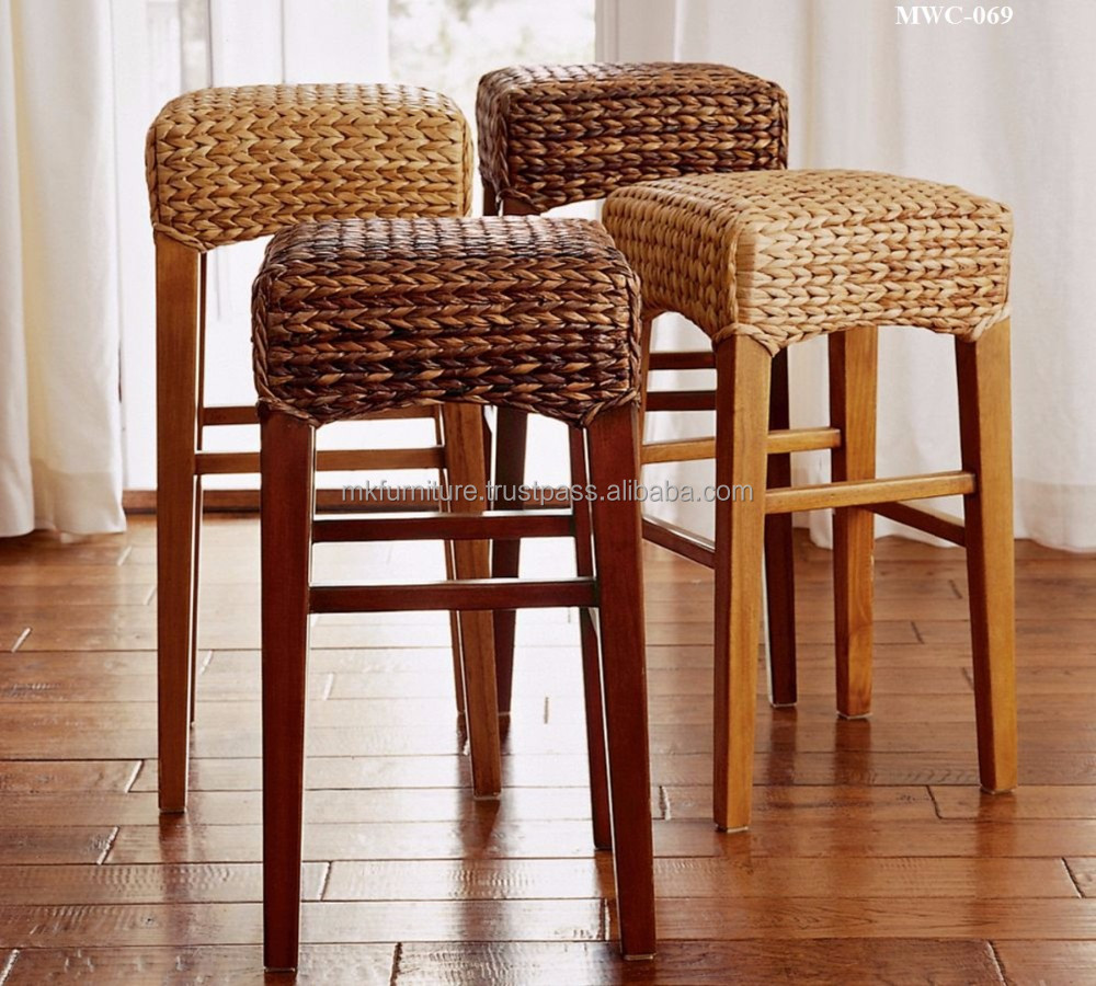 Indoor Interior Wicker Rattan Furniture Dining Set Bar Stool Hand Woven By Wicker Hyacinth