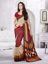 Marroon & Cream Color Shiny Blouse For Festive Aroma Designer Printed Sarees