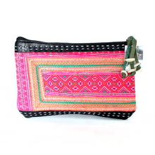 Hmong Hill Tribe Vintage Leather Clutch - Black