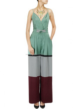 Multicolour designer new arrival latest playsuit silk satin crepe and herringbone panelled plunging neckline jumpsuit for women