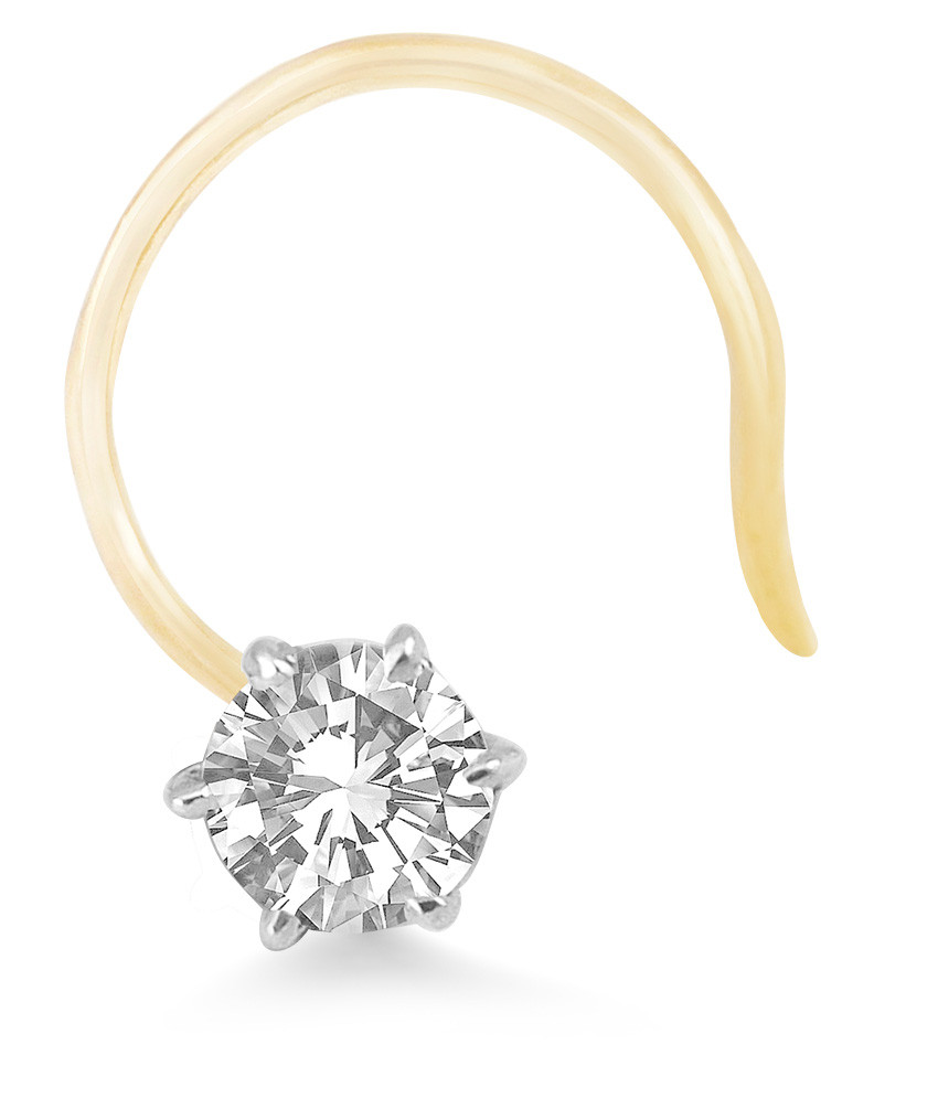 Real Diamond Solitaire Nose Stud 14k Yellow Gold Buy Solitaire