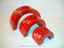 Lacquered wood candle holder Vietnam with dragon fly eggshell crackle- http://lacquerhomevn.com/