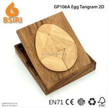 wooden brain teaser egg tangram 2D